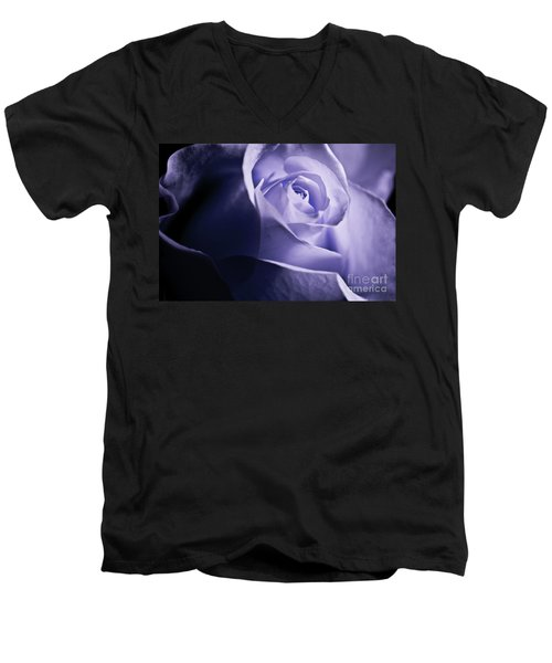 Men's V-Neck T-Shirt featuring the photograph A Beautiful Purple Rose by Micah May