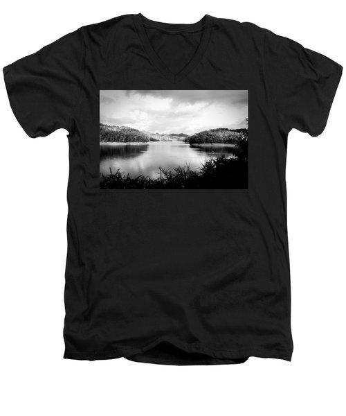 A Black And White Landscape On The Nantahala River Men's V-Neck T-Shirt