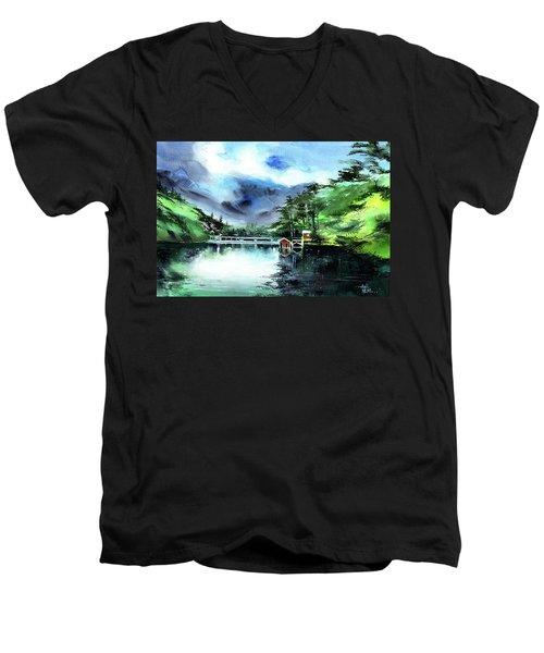 Men's V-Neck T-Shirt featuring the painting A Bridge Not Too Far by Anil Nene