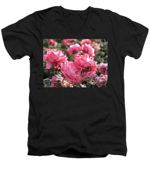 Men's V-Neck T-Shirt featuring the photograph A Bunch Of Pink by Laurel Powell