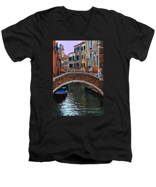A Canal In Venice Men's V-Neck T-Shirt by Tom Prendergast