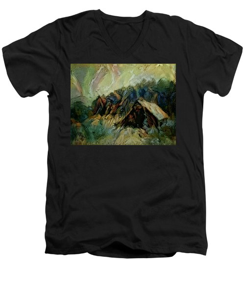 A Chance In The World Movie Dark Barn Crowded Into A Gully Between A Large Rocky Hill And A Grove Of Men's V-Neck T-Shirt by Mendyz