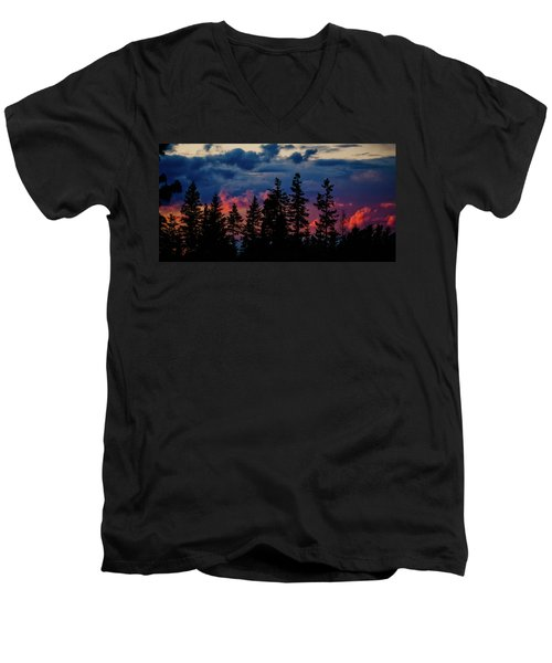 Men's V-Neck T-Shirt featuring the photograph A Chance Of Thundershowers by Albert Seger