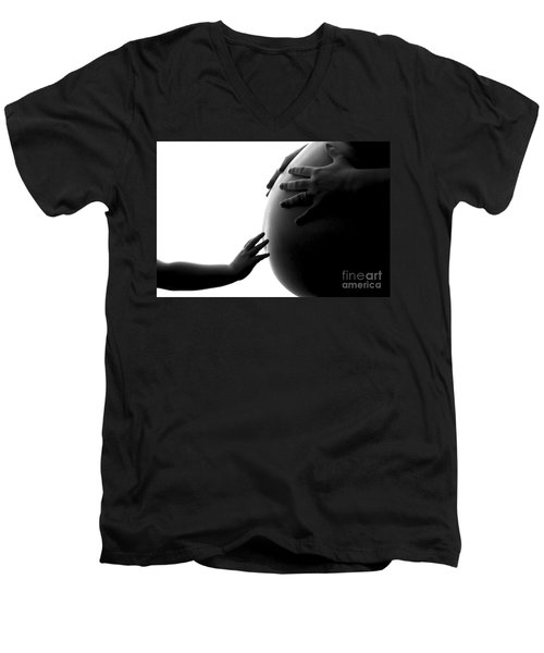 A Child's Reach To A Future Sibling Men's V-Neck T-Shirt by Darcy Michaelchuk