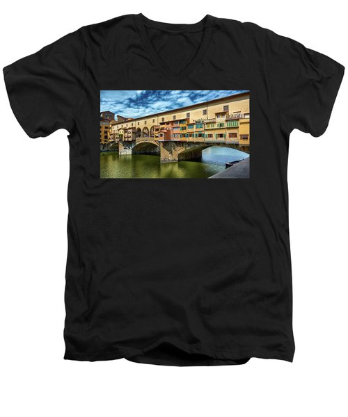 Ponte Vecchio On The Arno River Under A Blue Sky In Florence, Italy Men's V-Neck T-Shirt