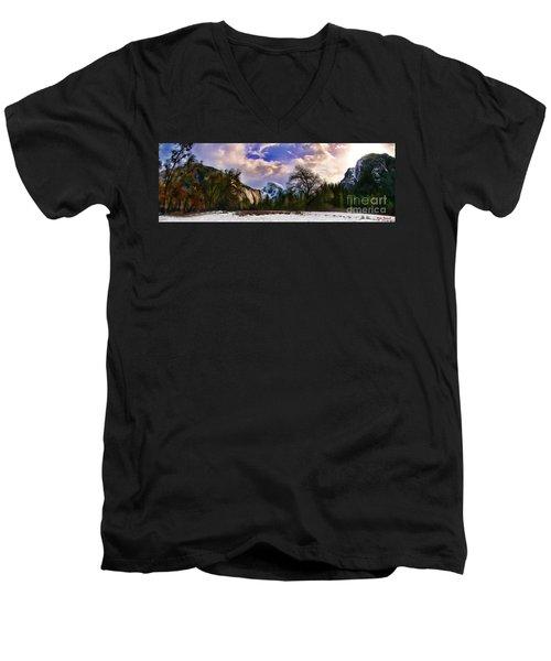 A Cold Yosemite Half Dome Morning Men's V-Neck T-Shirt