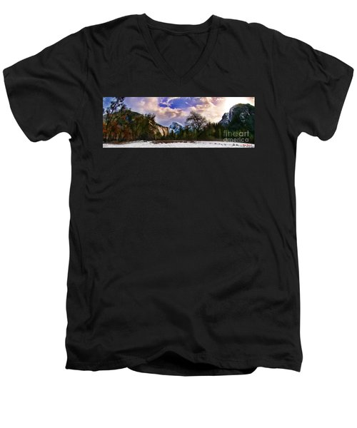 A Cold Yosemite Half Dome Morning Men's V-Neck T-Shirt