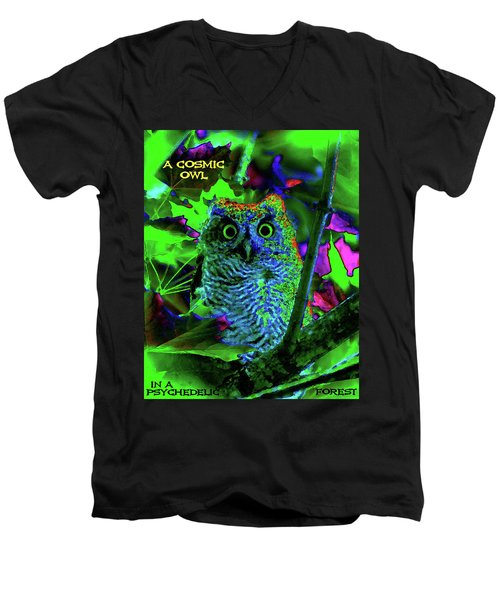 A Cosmic Owl In A Psychedelic Forest Men's V-Neck T-Shirt