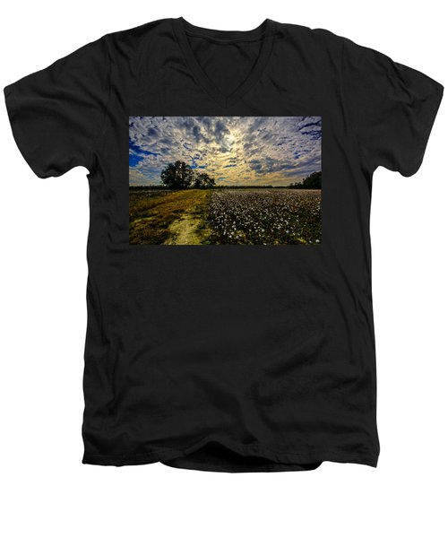 A Cotton Field In November Men's V-Neck T-Shirt by John Harding