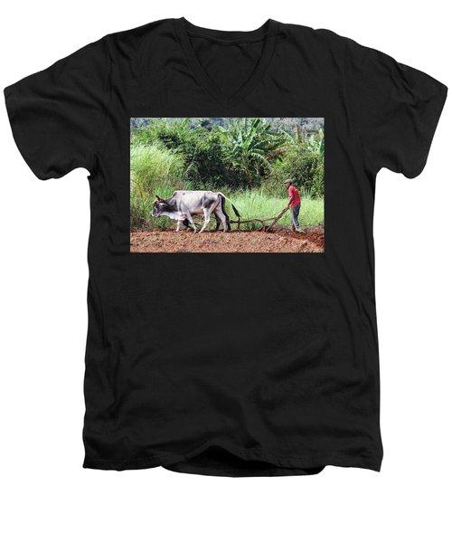 A Cuban Tractor Men's V-Neck T-Shirt