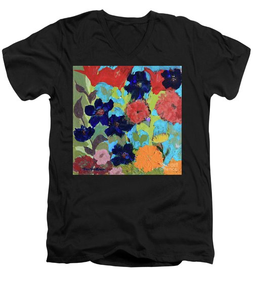 Men's V-Neck T-Shirt featuring the painting A Dandelion Weed Making It's Way In The Garden by Robin Maria Pedrero