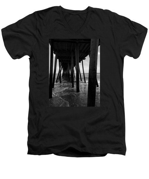 Men's V-Neck T-Shirt featuring the pyrography A Day At Virginia Beach #2 by Rebecca Davis