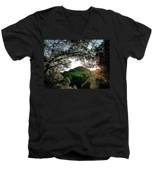 A Distant Cross Men's V-Neck T-Shirt