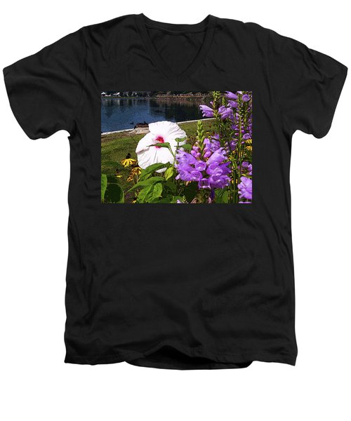 A Flower Blossoms Men's V-Neck T-Shirt by B Wayne Mullins