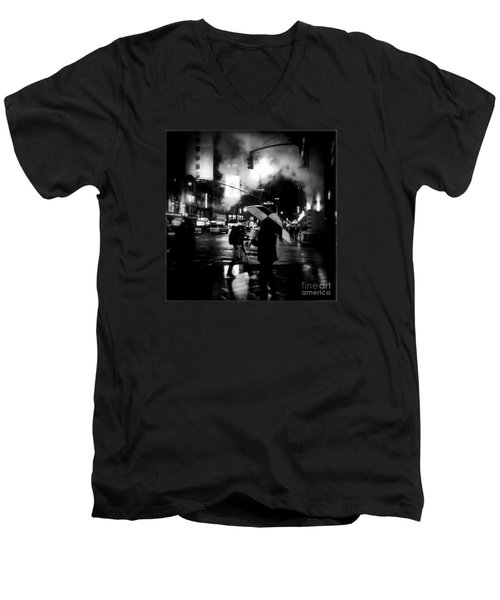 A Foggy Night In New York Town - Checkered Umbrella Men's V-Neck T-Shirt by Miriam Danar