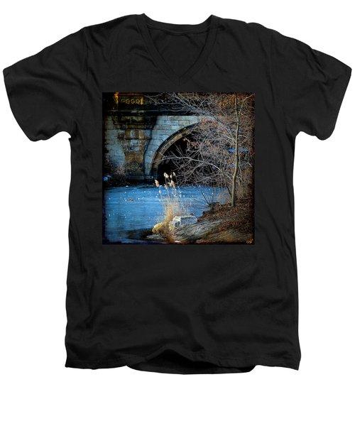 A Frozen Corner In Central Park Men's V-Neck T-Shirt
