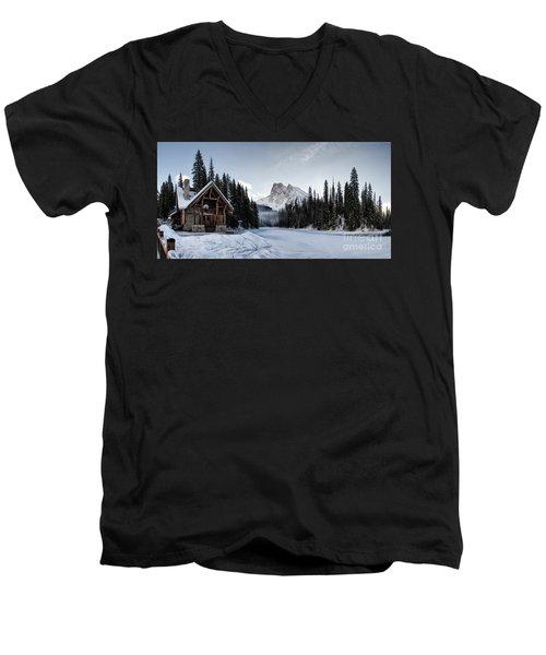 A Frozen Emerald Lake Morning Men's V-Neck T-Shirt by Brad Allen Fine Art