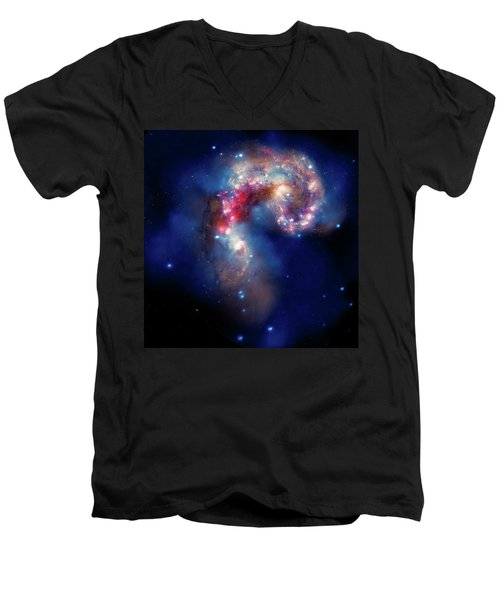 Men's V-Neck T-Shirt featuring the photograph A Galactic Spectacle by Marco Oliveira