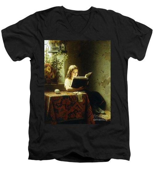 A Girl Reading Men's V-Neck T-Shirt by Johann Georg Meyer