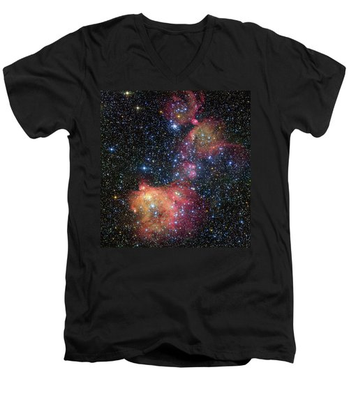 Men's V-Neck T-Shirt featuring the photograph A Glowing Gas Cloud In The Large Magellanic Cloud by Eso