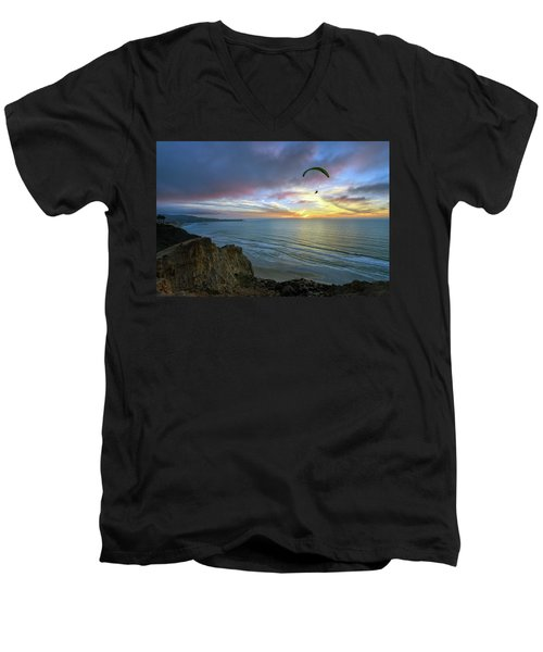 A Hang Glider And A Sunset Men's V-Neck T-Shirt