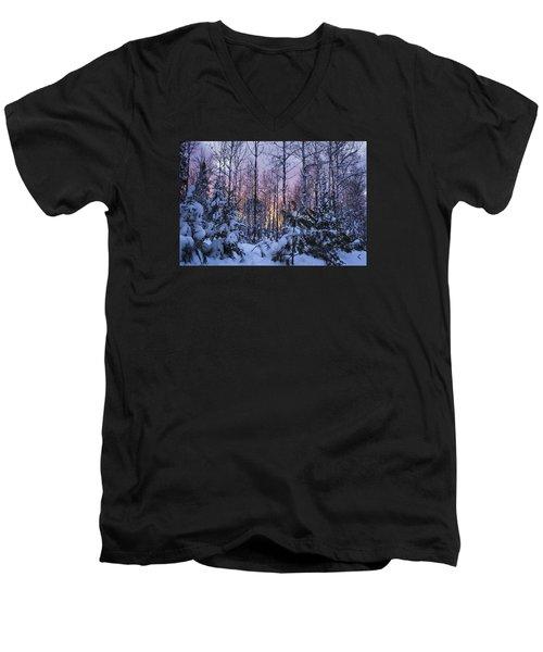 A Hidden Trail Men's V-Neck T-Shirt by Dan Hefle