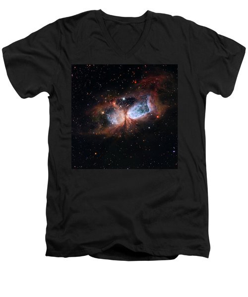 Men's V-Neck T-Shirt featuring the photograph A Composite Image Of The Swan by Nasa
