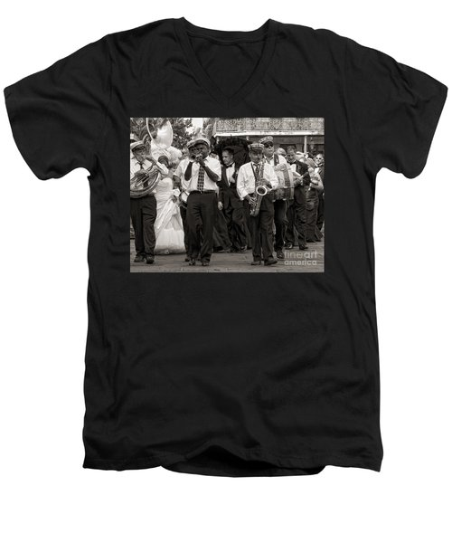 A Jazz Wedding In New Orleans Men's V-Neck T-Shirt by Kathleen K Parker