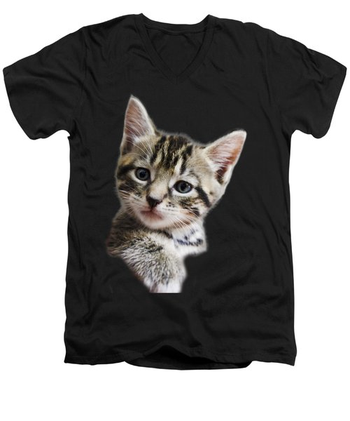 A Kittens Helping Hand On A Transparent Background Men's V-Neck T-Shirt by Terri Waters