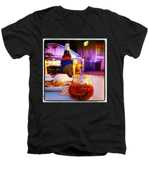 Men's V-Neck T-Shirt featuring the photograph A Little Dab Will Do Yah. It's Sliced by Mr Photojimsf