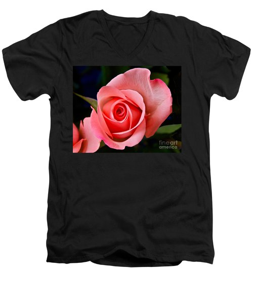 Men's V-Neck T-Shirt featuring the photograph A Loving Rose by Sean Griffin