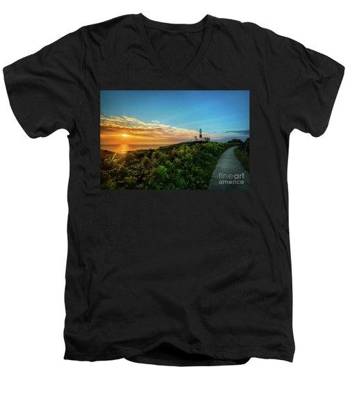 A Montauk Lighthouse Sunrise Men's V-Neck T-Shirt