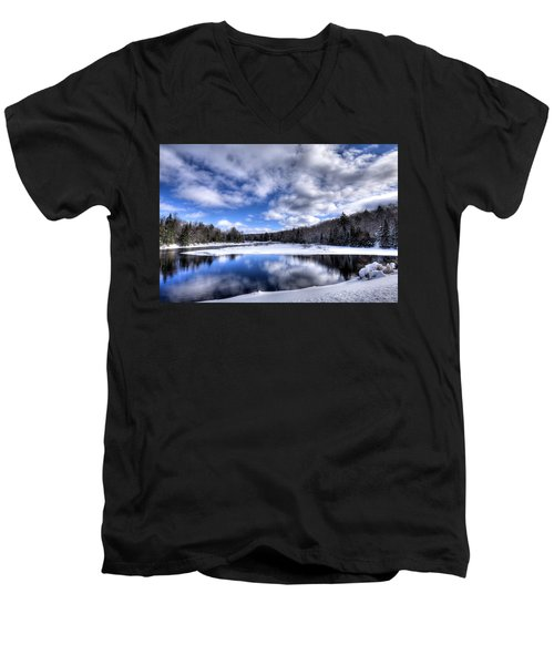 Men's V-Neck T-Shirt featuring the photograph A Moose River Snowscape by David Patterson