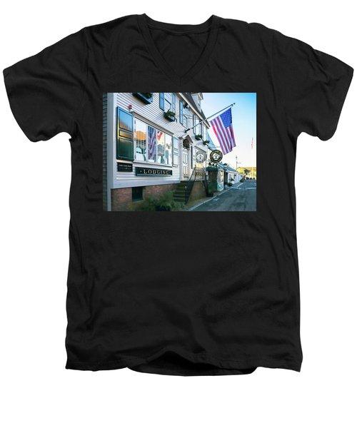 A Newport Wharf Men's V-Neck T-Shirt by Nancy De Flon