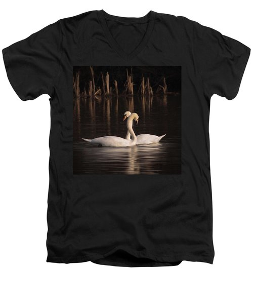 A Painting Of A Pair Of Mute Swans Men's V-Neck T-Shirt by John Edwards