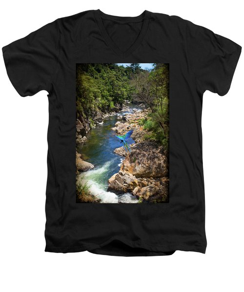 A Parrot In A New Zealand Gorge Men's V-Neck T-Shirt