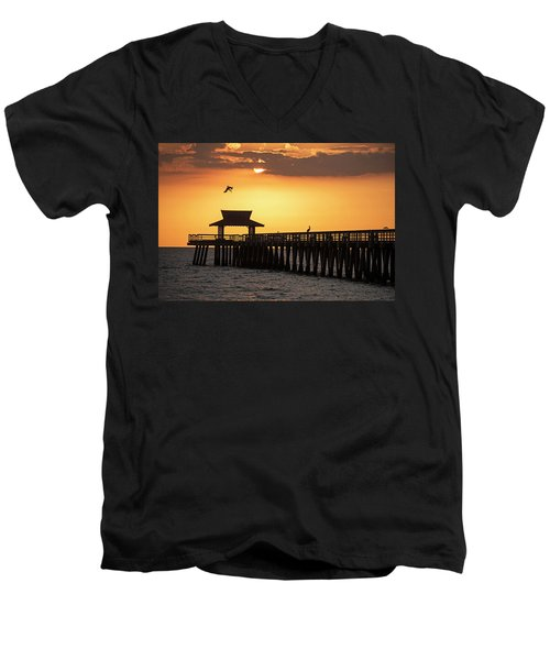 A Pelican Dive-bomb At The Naples Pier Naples Fl Men's V-Neck T-Shirt