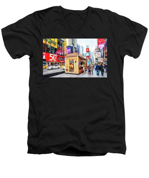 A Portable Food Stand In New York Times Square Men's V-Neck T-Shirt