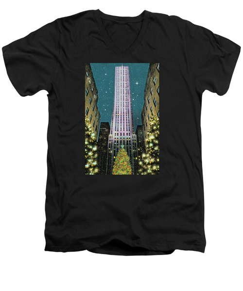 A Rocking Christmas Men's V-Neck T-Shirt by Diana Angstadt