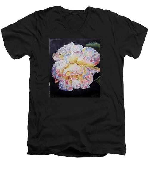 Men's V-Neck T-Shirt featuring the painting A Rose by Teresa Beyer