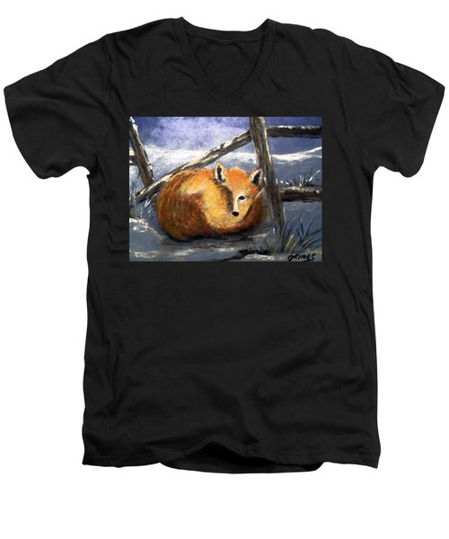 Men's V-Neck T-Shirt featuring the painting A Safe Place To Sleep by Carol Grimes