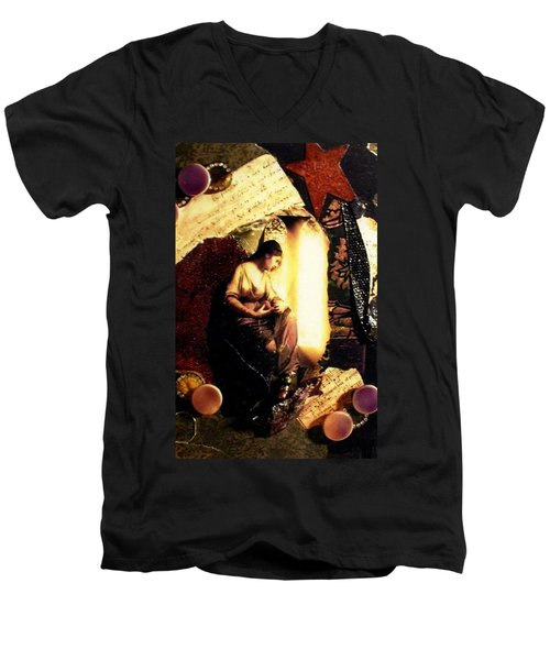 Men's V-Neck T-Shirt featuring the mixed media A Secret Place by Gail Kirtz