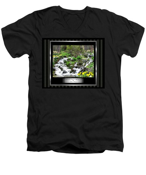 Men's V-Neck T-Shirt featuring the photograph A Splendid Day On Logging Creek by Susan Kinney