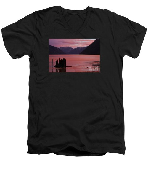 Men's V-Neck T-Shirt featuring the photograph A Sublime September Sunset by Stanza Widen