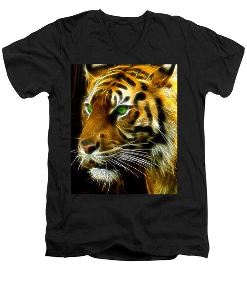 A Tiger's Stare Men's V-Neck T-Shirt
