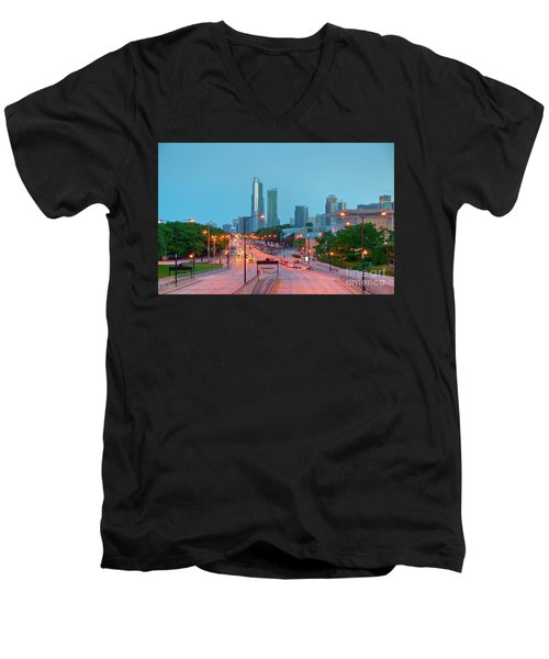 A View Of Columbus Drive In Chicago Men's V-Neck T-Shirt