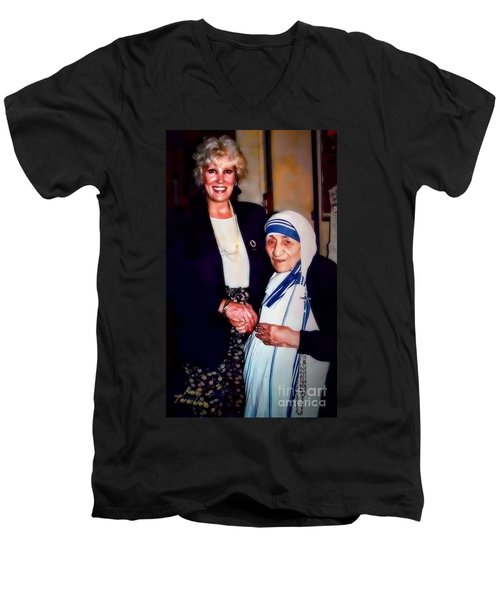 Men's V-Neck T-Shirt featuring the digital art A Vist With Mother Teresa by Kathy Tarochione