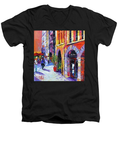 A Walk In The Lyon Old Town Men's V-Neck T-Shirt