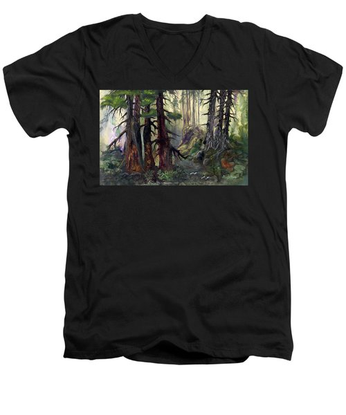 Men's V-Neck T-Shirt featuring the painting A Walk In The Woods by Sherry Shipley