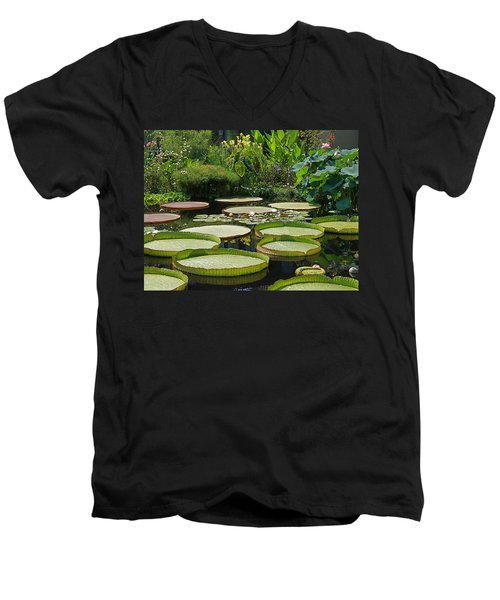 Men's V-Neck T-Shirt featuring the photograph A Water Garden by Byron Varvarigos